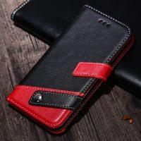 Luxusné kožené Flip púzdro pre iPhone X, červeno-čierna farba