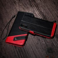 Luxusné kožené Flip púzdro pre iPhone X, červeno-čierna farba ..