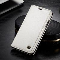 Luxusné kožené púzdro pre iPhone X, biela farba