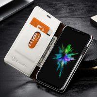 Luxusné kožené púzdro pre iPhone X, biela farba ,
