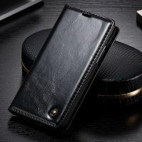 Luxusné kožené púzdro pre iPhone X, čierna farba