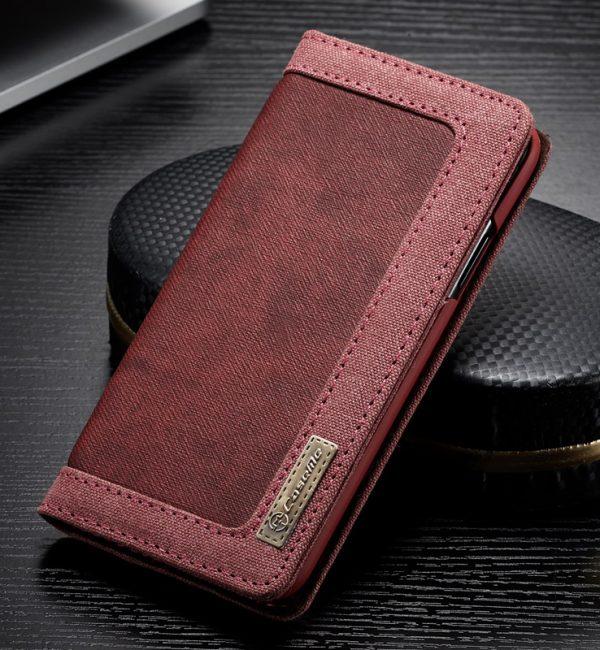 Luxusné magnetické knižkové púzdro pre iPhone X, červená farba