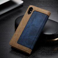 Luxusné magnetické knižkové púzdro pre iPhone X, modrá farba .,