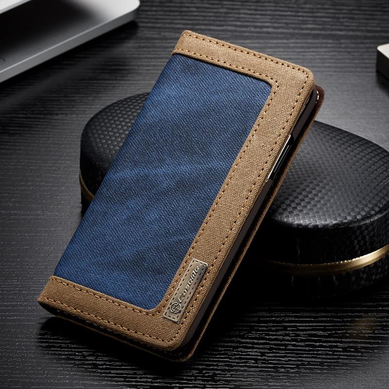 Luxusné magnetické knižkové púzdro pre iPhone X, modrá farba