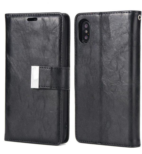 Luxusné magnetické otváracie púzdro pre iPhone X, čierna farba