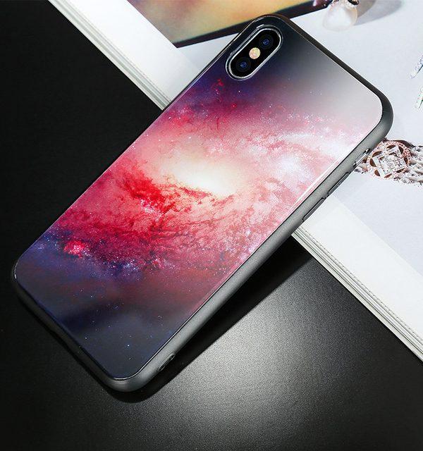 Luxusný ochranný kryt na iPhone X, červeno-biela galaxia