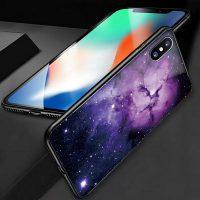 Luxusný ochranný kryt na iPhone X, modro-fialová galaxia,