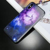 Luxusný ochranný kryt na iPhone X, modro-fialová galaxia