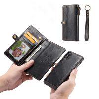 Peňaženkové magnetické púzdro pre iPhone X v čiernej farbe,.