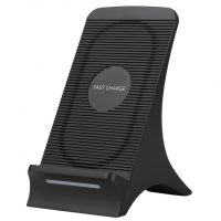Štýlová Qi bezdrôtová nabíjačka pre iPhone v čiernej farbe, stojan