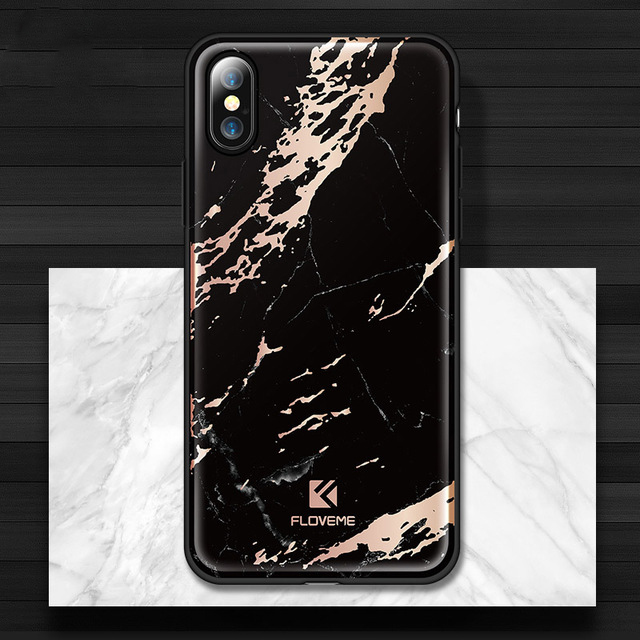 Štýlový vzorovaný kryt Floveme pre iPhone X, čierna farba