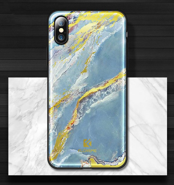 Štýlový vzorovaný kryt Floveme pre iPhone X, modrá farba