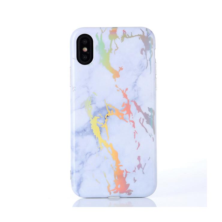 Unikátny silikónový kryt vzorovaný pre iPhone X v bielej farbe