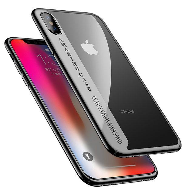 Luxusný plastový kryt pre iPhone X, transparentný s čiernym okrajom