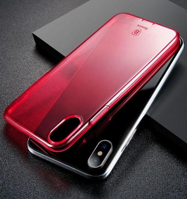 Silikónový kryt pre iPhone X, transparentný ružový