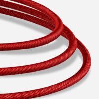 Inteligentný lightning nabíjací kábel, 120cm, textilný v červenej farbe ,