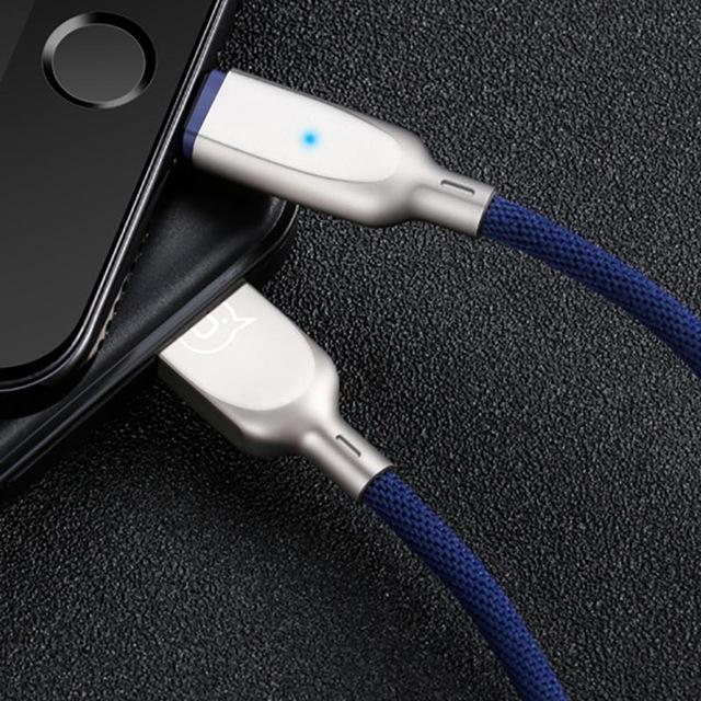 Inteligentný lightning nabíjací kábel, 120cm, textilný v modrej farbe