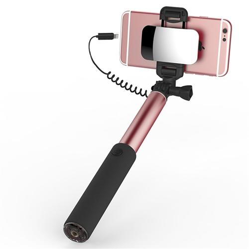 Kovová selfie tyč so zrkadlom ROCK, pre iPhone s lightning káblom v ružovo-zlatej farbe