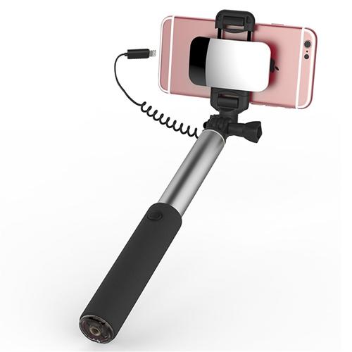 Kovová selfie tyč so zrkadlom ROCK, pre iPhone s lightning káblom v striebornej farbe