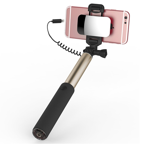 Kovová selfie tyč so zrkadlom ROCK, pre iPhone s lightning káblom v zlatej farbe