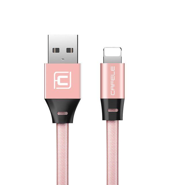 Odolný lightning nabíjací kábel CAFELE, 120cm, textilný v ružovej farbe