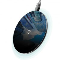 Luxusná sklenená QI nabíjačka v čiernej farbe