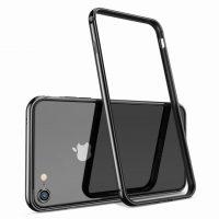 Luxusný hliníkový bumper pre iPhone 8, lesklá čierna farba