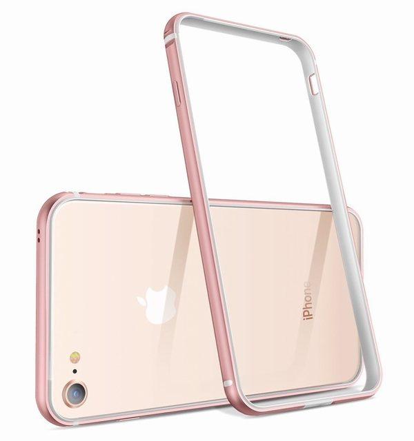 Luxusný hliníkový bumper pre iPhone 8, ružová farba