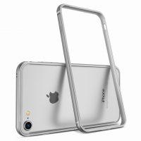 Luxusný hliníkový bumper pre iPhone 8, strieborná farba