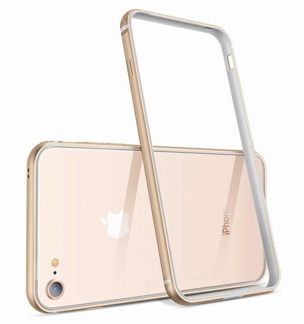 Luxusný hliníkový bumper pre iPhone 8, zlatá farba