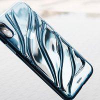 Transparentný silikónový Baseus kryt pre iPhone X v modrom prevedení