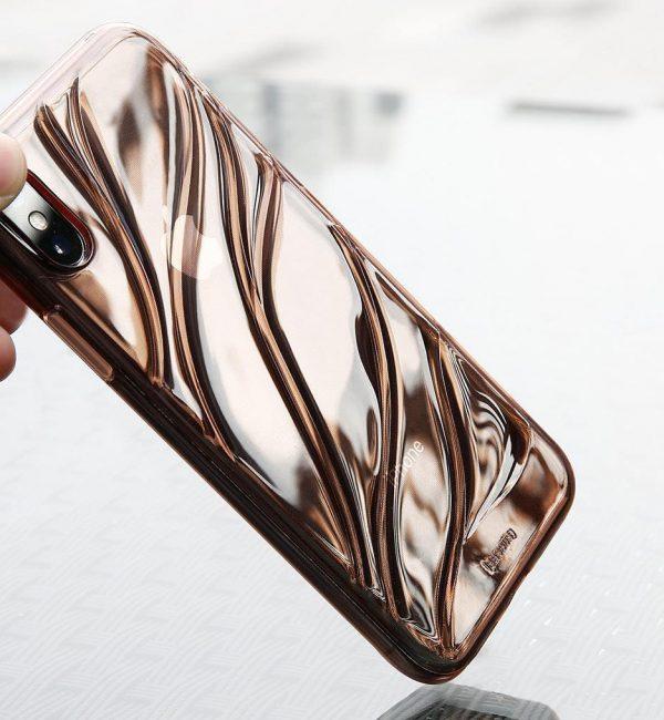 Transparentný silikónový Baseus kryt pre iPhone X v ružovom prevedení.