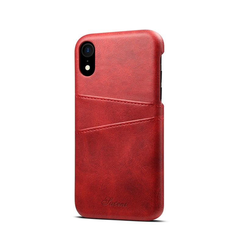Kožený kryt na kreditnú kartu pre iPhone XS MAX v červenej farbe (2)