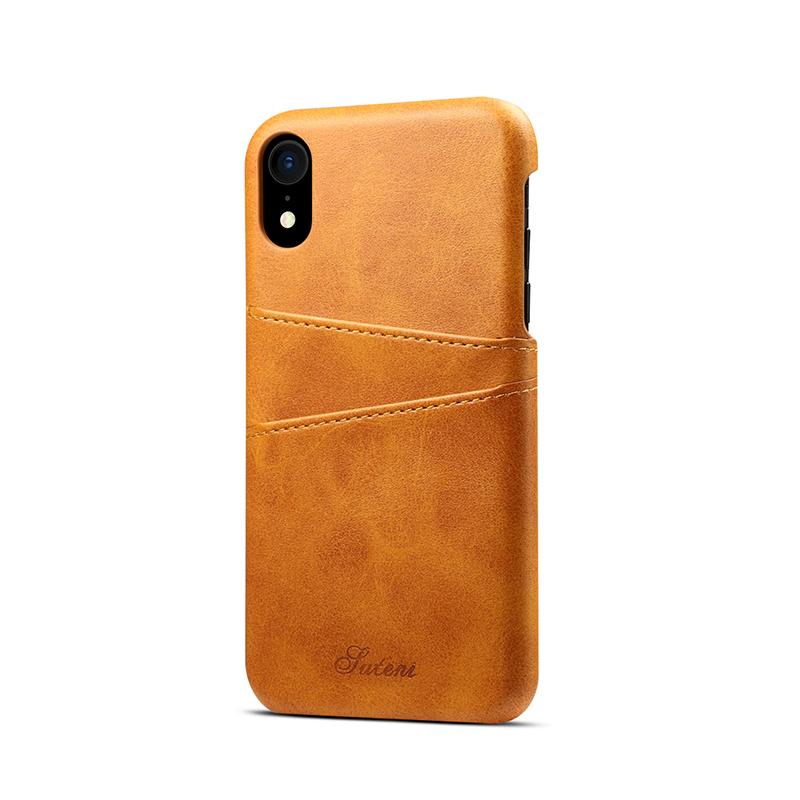 Kožený kryt na kreditnú kartu pre iPhone XS MAX v khaki farbe (2)