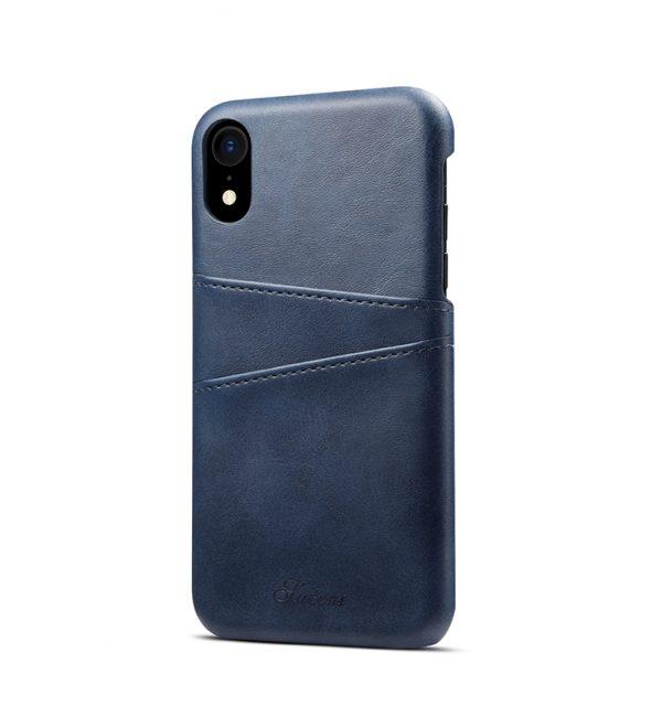 Kožený kryt na kreditnú kartu pre iPhone XS MAX v modrej farbe (2)