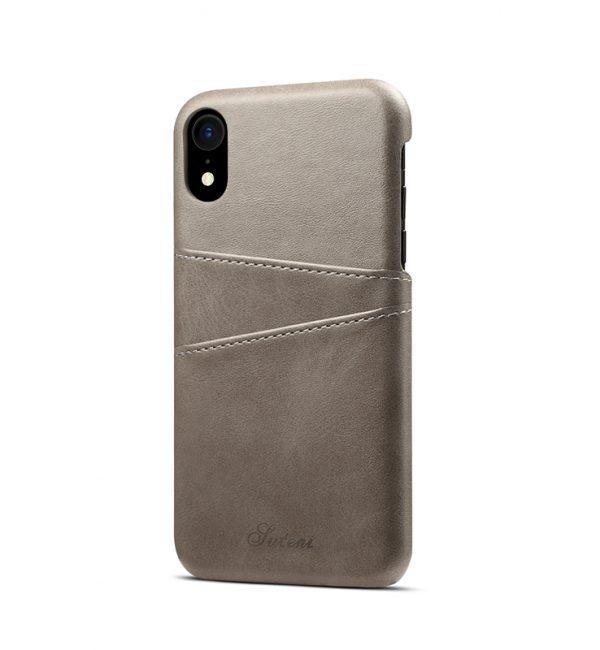 Kožený kryt na kreditnú kartu pre iPhone XS v šedej farbe (2)