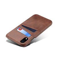 Kožený kryt na kreditnú kartu pre iPhone XS v hnedej farbe (1)