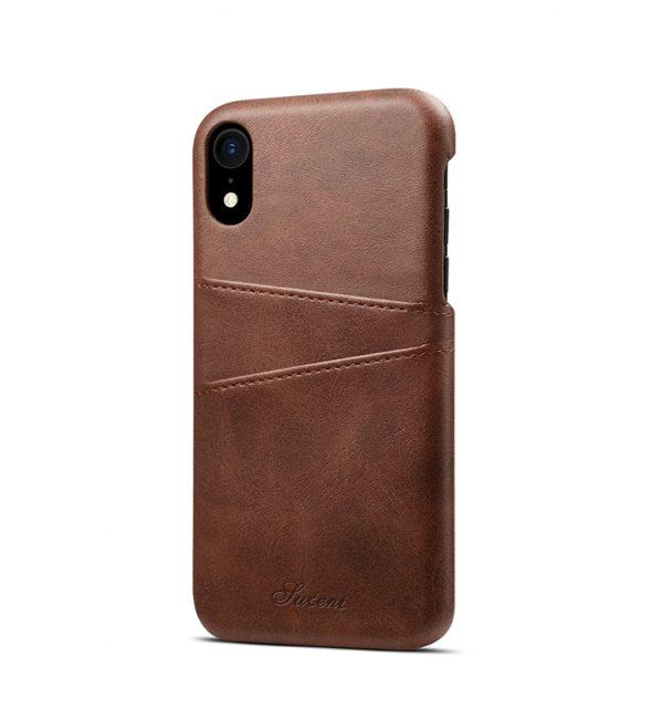 Kožený kryt na kreditnú kartu pre iPhone XS v hnedej farbe (2)