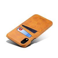 Kožený kryt na kreditnú kartu pre iPhone XS v khaki farbe (1)