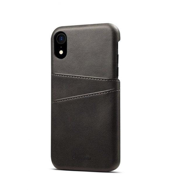 Kožený kryt na kreditnú kartu pre iPhone XS vo svetlo čiernej farbe