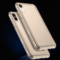 Ochranný silikónový kryt s vystuženými rohmi pre iPhone XR, transparentný zlatý (2)