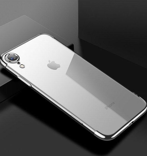 Tenký silikónový kryt pre iPhone XR v striebornej farbe