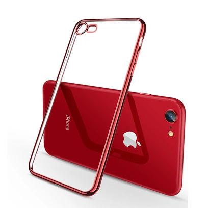 Silikónový transparentný obal s červenými okrajmi pre iPhone 8