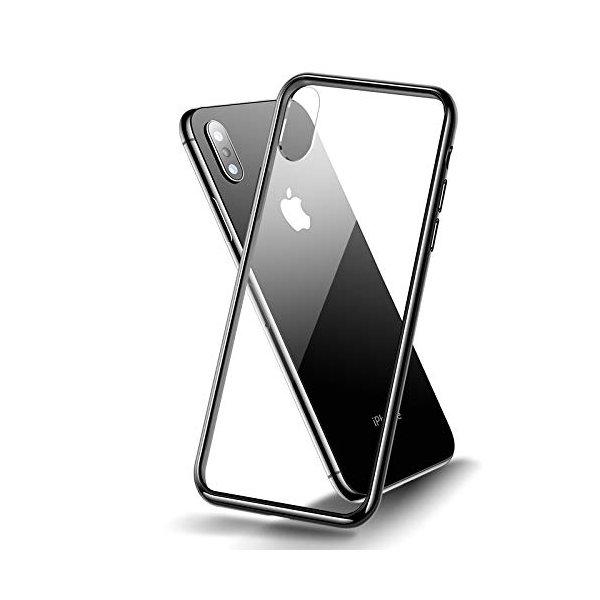 Kryt pre iPhone XR so zadným tvrdeným sklom a bočným silikónom, čierny