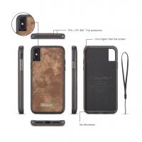 Peňaženka a magnetický obal pre iPhone XR v hnedej farbe (1)