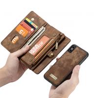 Peňaženka a magnetický obal pre iPhone XR v hnedej farbe (2)
