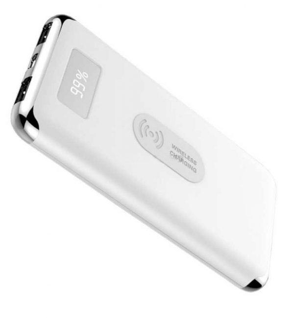 Qi Bezdrôtová nabíjačka 10000mAh - prenosný Power Bank s displejom, biela farba