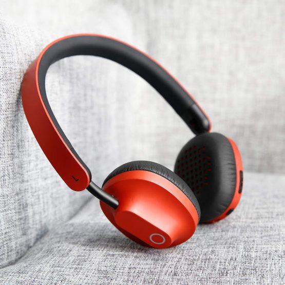 Bezdrôtové bluetooth slúchadlá BASEUS s mikrofónom / konektorom 3,5 mm káblom v červenej farbe