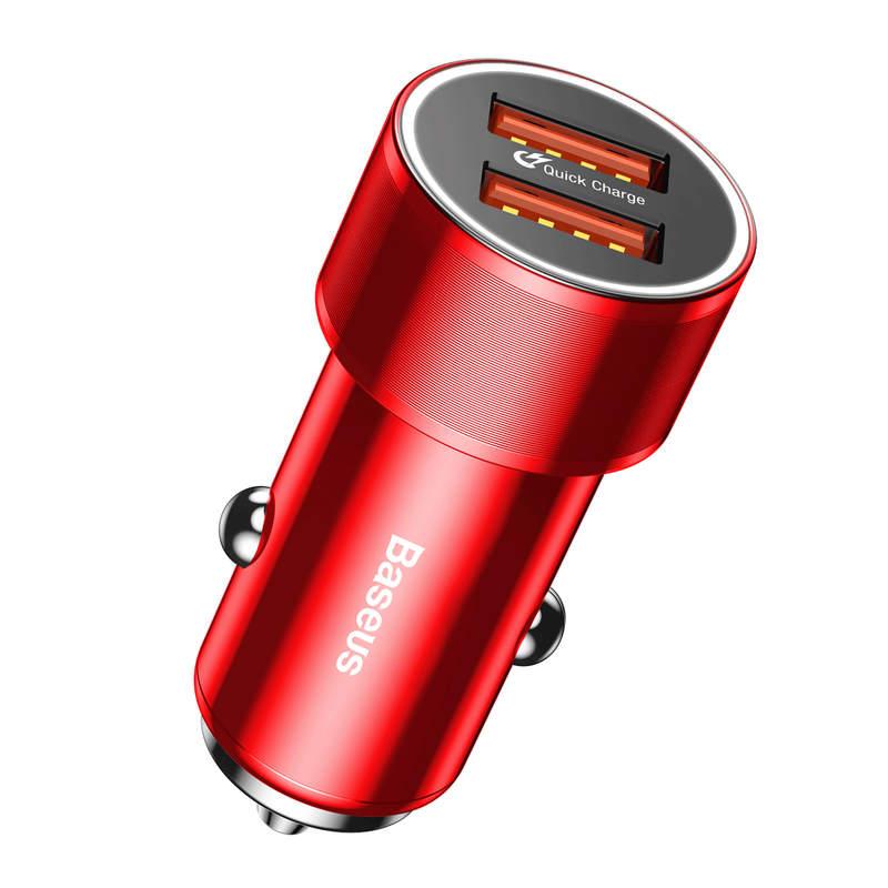 Adaptér do auta s funkciou QUICK CHARGE 3.0, 2x port max 36W, červená farba5