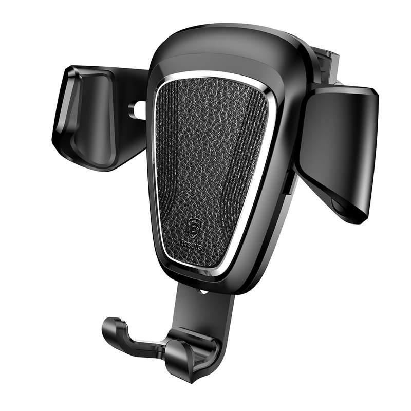 Gravitačný metalický držiak do ventilátora automobilu BASEUS v čiernej farbe